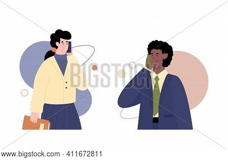 Business People Talking Smartphones, Cartoon Vector Illustration Isolated On White Background. Man A