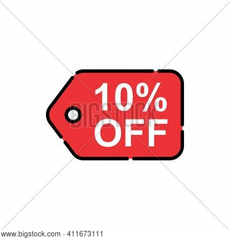 10% Sale Tag Vector Badge Template, 10% Sale Label Collection, Clearance Sale Sticker Emblem, Bargai