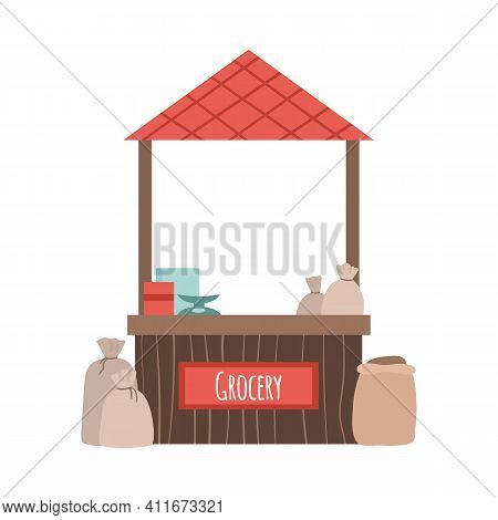 Street Grocery Store Seller Counter, Cartoon Vector Illustration Isolated On White Background. Stand