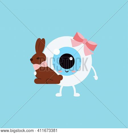 Easter Cute Eye Ball With Chocolate Bunny Rabbit. Ophthalmology Easter Eyeball Character With Sweet