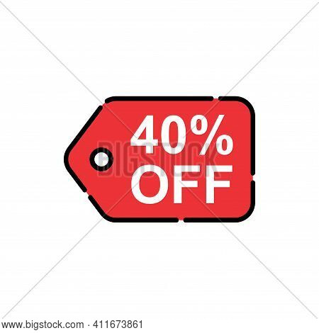 40% Sale Tag Vector Badge Template, 40% Sale Label Collection, Clearance Sale Sticker Emblem, Bargai