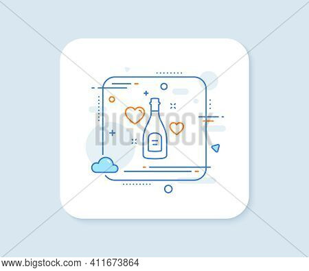 Love Champagne Line Icon. Abstract Square Vector Button. Wedding Drink Sign. Couple Relationships Sy