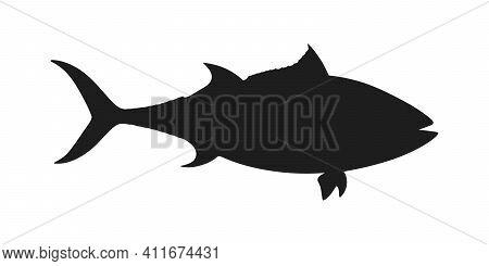 Tuna Fish Graphic Icon. Tuna Sign Isolated On White Background. Symbol Sea Fish Blue Tuna. Vector Il