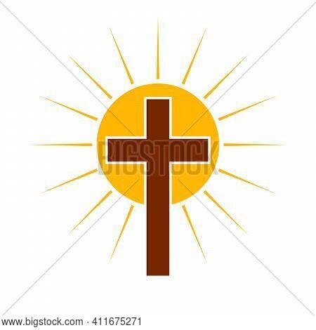 Christian Cross With Sun Rays. Christian Cross Icon. Abstract Religion Symbol. Vector Illustration.