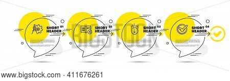 Reject Book, Scroll Down And Cogwheel Dividers Line Icons Set. Timeline Infograph Speech Bubbles. Co