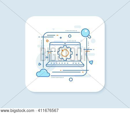 Recovery Gear Line Icon. Abstract Vector Button. Backup Data Sign. Restore Information Symbol. Recov