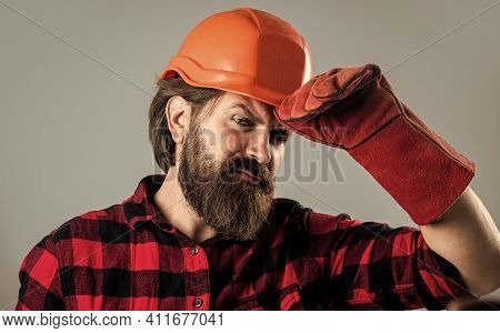 I Know Everything About Cars. Man In Hard Hat. Engineer In Gloves. Construction Worker Wear Safety H