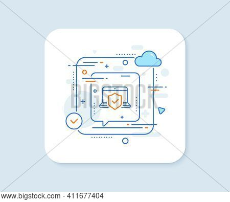 Laptop Insurance Hand Line Icon. Abstract Vector Button. Risk Coverage Sign. Notebook Protection Sym
