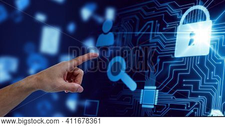 Human hand touching invisible screen against digital icons and microprocessor connections. futuristic technology and business concept