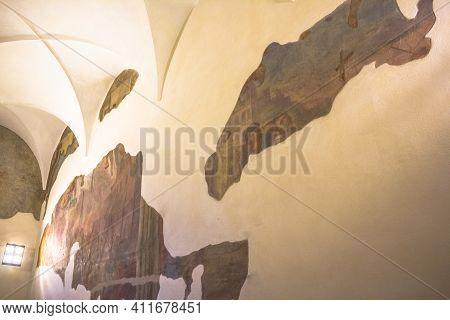 Milan, Italy - November 15, 2016: Restoration Of The Paintings Inside Milans Famous Church Santa Mar