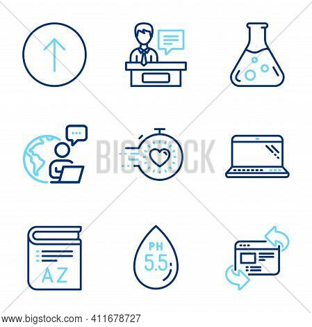 Science Icons Set. Included Icon As Swipe Up, Exhibitors, Refresh Website Signs. Ph Neutral, Laptop,