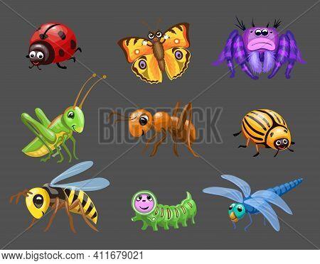 Cartoon Funny Bugs. Caterpillar And Butterfly, Cute Ladybug, Green Grasshopper, Spider Children Bugs