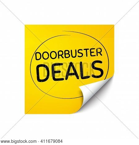 Doorbuster Deals. Sticker Note With Offer Message. Special Offer Price Sign. Advertising Discounts S