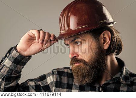 Man In Hard Hat. Engineer In Working. Construction Worker Wear Safety Helmet. Wearing Safety Gear. S
