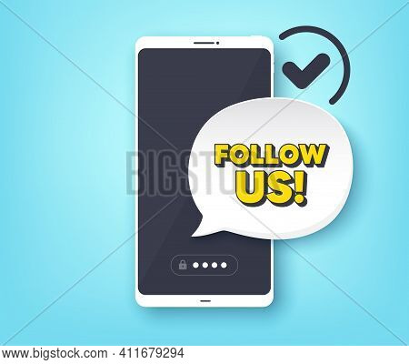 Follow Us Symbol. Mobile Phone With Alert Notification Message. Special Offer Sign. Super Offer. Cus