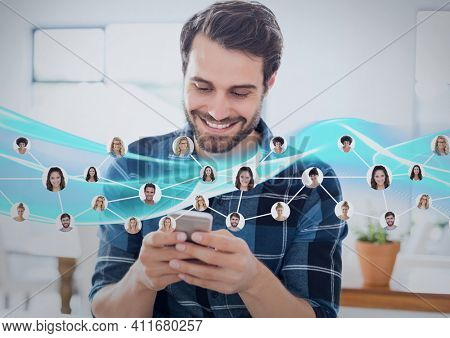 Network of profile icons against caucasian man using smartphone. social media networking and technology concept