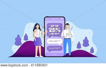 Up To 25 Percent Discount. Phone Online Chatting Banner. Sale Offer Price Sign. Special Offer Symbol