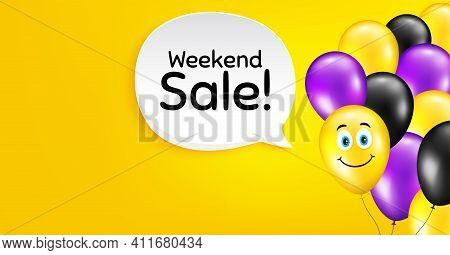 Weekend Sale. Smile Balloon Vector Background. Special Offer Price Sign. Advertising Discounts Symbo