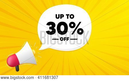 Up To 30 Percent Off Sale. Yellow Background With Megaphone. Discount Offer Price Sign. Special Offe