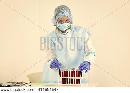 Make Virus Test. Take A Blood Test. Donate Blood For Analysis. Coronavirus Pandemic Outbreak. Woman