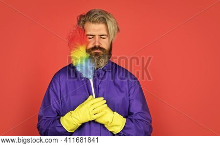 Feeling Unhappy. Hipster Holding The Cleaning Tool. Cleaning And Home Concept. Man Sweeping With Sma