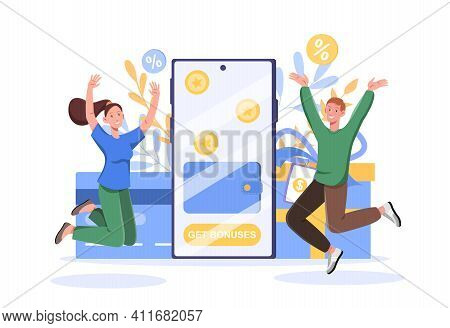 Get Bonuses And Cash Back Concept Design, People Are Getting Cash Rewards And Gifts From Online Shop