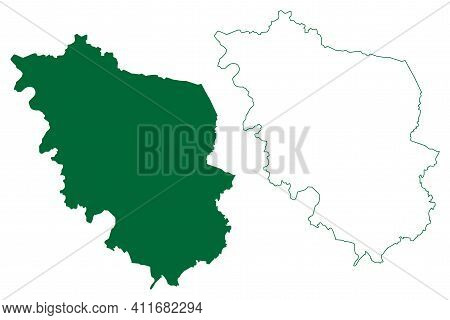 West Champaran District (bihar State, Tirhut Division, Republic Of India) Map Vector Illustration, S