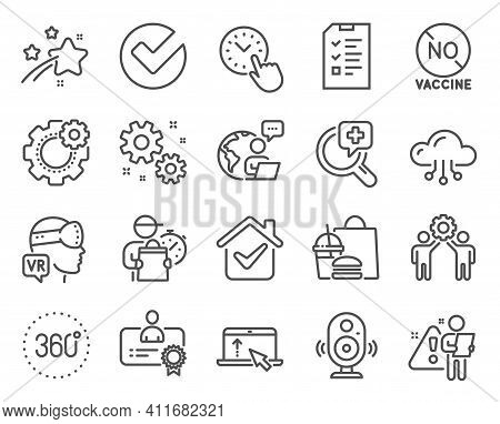 Science Icons Set. Included Icon As Certificate, No Vaccine, Cloud Computing Signs. Employees Teamwo