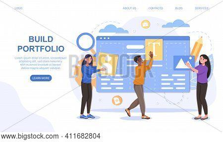 Portfolio Management Concept. Office Teamwork And Cooperation Concept. Online Cloud Solution. Flat C