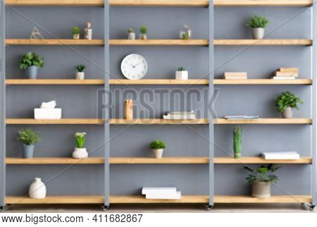 Parlor, Office And Simple Home Interior. Shelves With Plants In Pots, Accessories, Decor Elements An