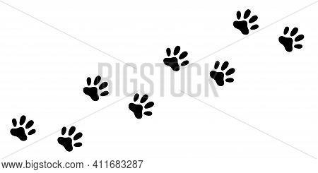 Cat Dog Paw Foot Print Track Diagonal. Footpath Trail Silhouette. Black Footprint Set. Cute Kawaii A