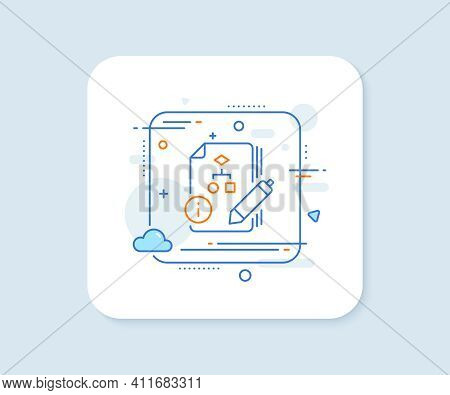 Documentation With Algorithm Line Icon. Abstract Square Vector Button. Technical Instruction Sign. A