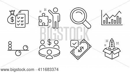 Infochart, Accepted Payment And Balance Line Icons Set. Search, Startup And Accounting Wealth Signs.