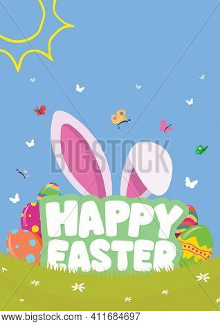 Happy easter text with easter bunny ears and butterflies on blue background. easter greetings concept digitally generated image.