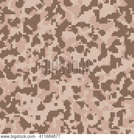Digital Brown Camouflage Seamless Pattern For Your Design. Desert Color Camouflage, Fabric. Vector T