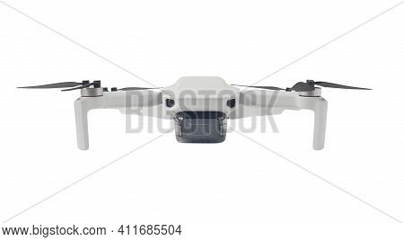 Front View Of Quadcopter Isolated On White Background