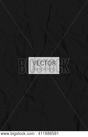 Black Crumpled Paper. Colored Creased Paper Sheet. Crumpled Texture Effect. Vector Background