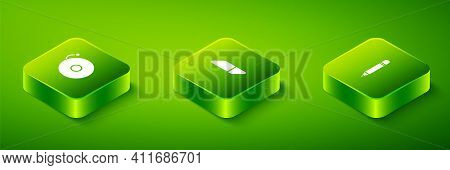 Set Isometric Eraser Or Rubber, Pencil With Eraser And Ringing Alarm Bell Icon. Vector