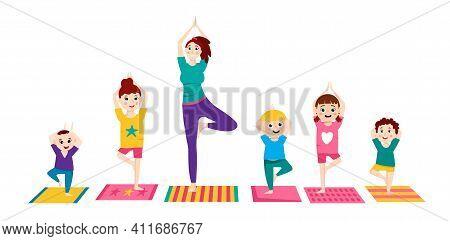 Children Yoga Group. Family Making Exercises. Sport For Kids. Healthcare, Fitness Workout, Kindergar