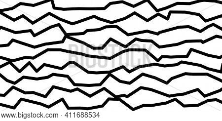 Abstract black and white background illustration, doodle style jagged horizontal lines
