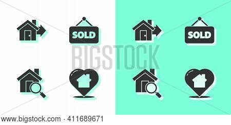 Set House With Heart Shape, Sale House, Search And Hanging Sign Text Sold Icon. Vector