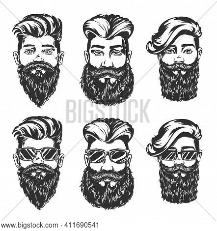 Hipster Hairstyle And Beard Style Vector Sketches Of Men Faces With Fashion Haircuts, Beards, Mustac