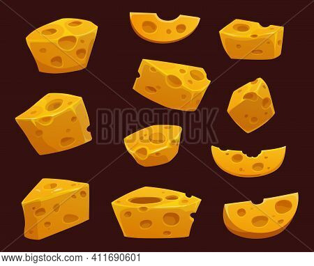 Cheese With Holes Cartoon Vector Of Dairy Food Wedges, Slices And Pieces. Swiss, Cheddar, Gouda And