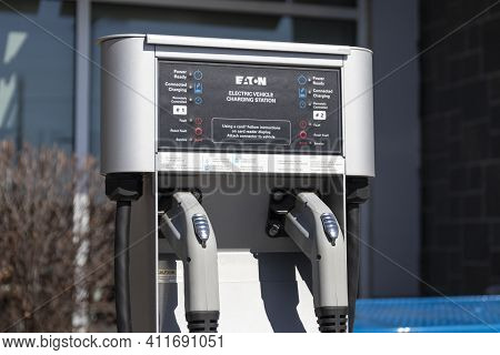 Indianapolis - Circa March 2021: Eaton Ev Charging Station. Eaton Offers Electric Vehicle Xchargein
