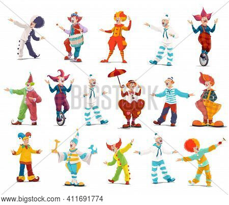 Circus Clowns, Cartoon Vector Big Top Characters. Jester Performers, Shapito Circus Show Entertainer