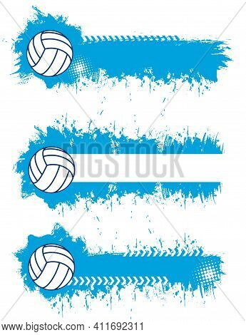 Volleyball Sport Blank Banners Or Posters Templates With Volleyball Ball And Blue Paint Splatters, S