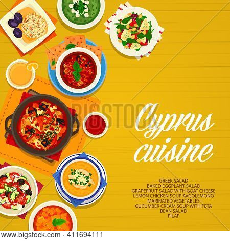 Cyprus Cuisine Vector Lemon Chicken Soup Avgolemono, Baked Eggplant, Greek Or Bean Salad. Marinated