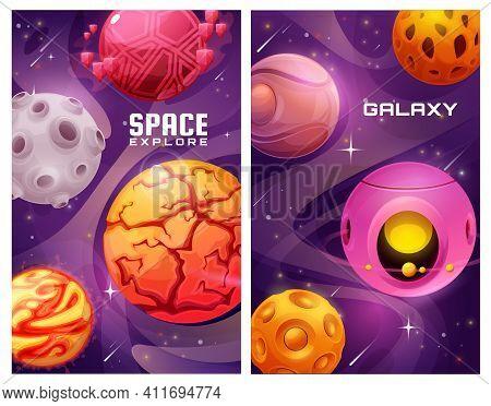 Space Galaxy Explore Posters With Cartoon Vector Fantasy Planets. Universe Exploration, Alien Planet