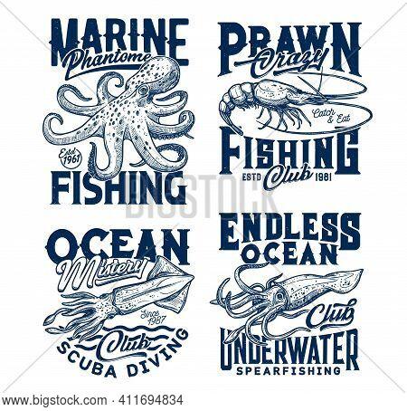 Tshirt Prints With Underwater Animals Vector Sketch Squid, Cuttlefish, Shrimp, Octopus. Scuba Diving