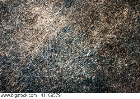 Blue Metal Background. Scratched Iron Surface. Metal Rust Texture. Grunge Peeling Paint Background.